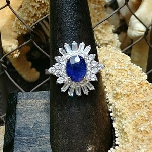 Jewelry - Stunning Blue Sapphire & Baguette Ring